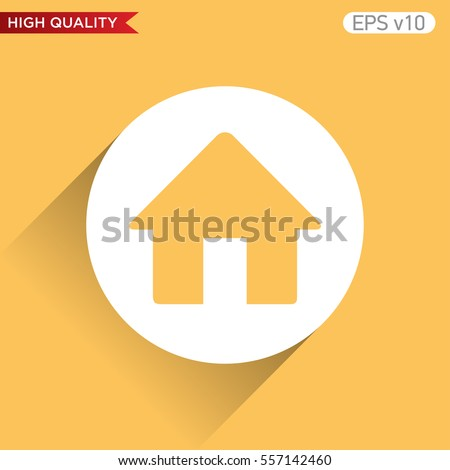 Colored icon or button of home symbol with background