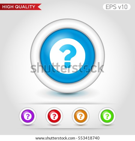 Colored icon or button of question symbol with background