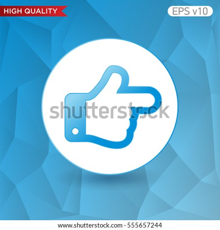 Colored icon or button of right finger symbol with background