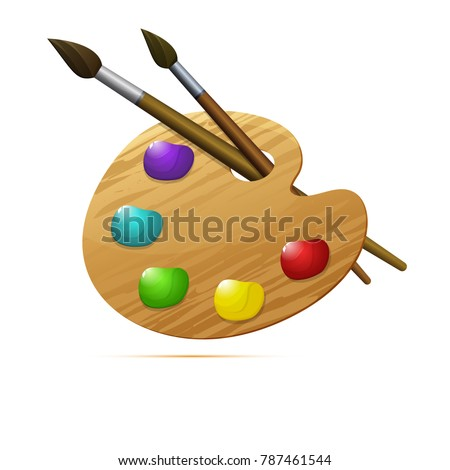 Colored icon, vector design. Wooden artist's palette with paints and 2 brushes for illustration of painting art, painting materials and  school supplies. Symbol of creation and painting lessons