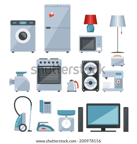 Colored icons of different types of home appliances on white background