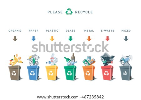 Colored illustration of separation garbage bins with organic, paper, plastic, glass, metal, e-waste and mixed waste. Different trash types in cartoon style. Trash types segregation recycling concept.
