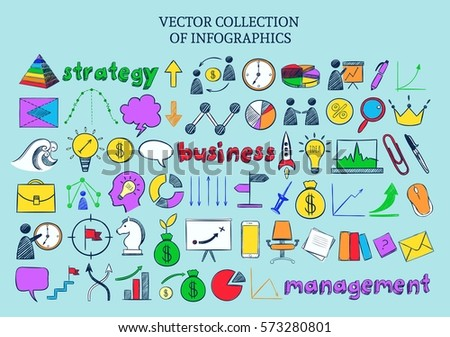 Colored infographic business icons collection of strategy management and office elements in sketch style isolated vector illustration