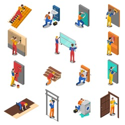 Colored isolated home repair worker people isometric icon set with different types of workers vector illustration