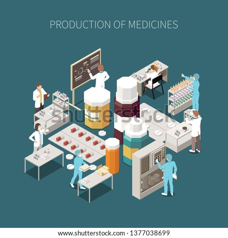 Colored isolated pharmaceutical production composition with production of medicines description and medical laboratory vector illustration