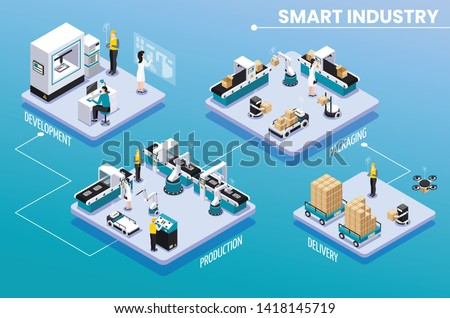 Colored isometric smart industry infographic with development production packaging and delivery steps vector illustration