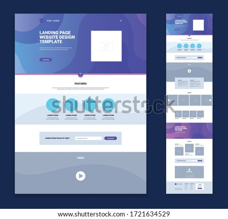 Colored landing page website design template set with flat elements links minimalist style vector illustration