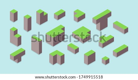 colored landscape blocks drawn