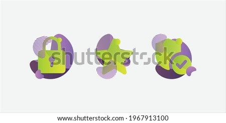 Colored lock icon, star icon, secure website connexion icon, modern style design, green purple colored icons, icon pack, organic shape icons, website icons, decorated icons Photo stock ©