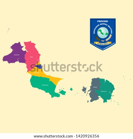 Colored Map and Logo of Bangka Belitung