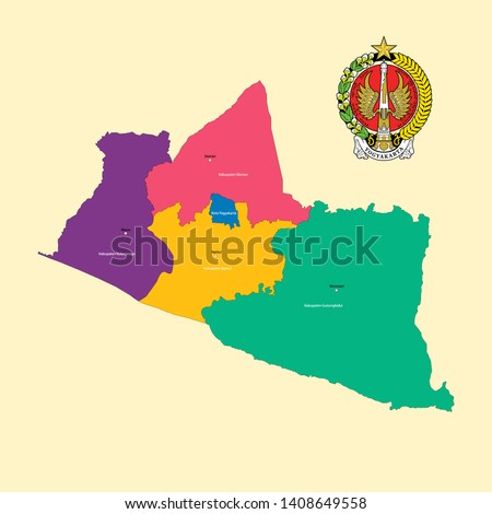 Colored Map and Logo of Special Region of Yogyakarta