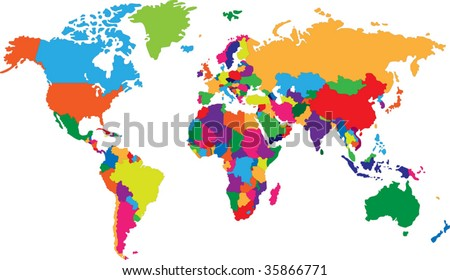 Colored map of world with countries borders - stock vector