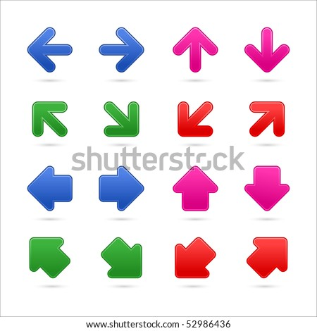 Colored satin matted arrows group web button with shadow on white background