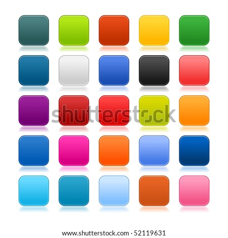 Colored matted blank rounded squares buttons with color reflection on white