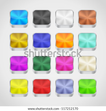 Colored metallic backgrounds for app icons. Image contains transparency. 10 EPS