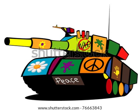 colored military tank - stock vector
