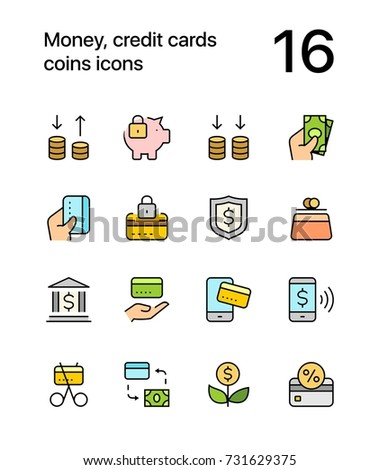 Colored Money, credit cards, coins icons for web and mobile design pack 3