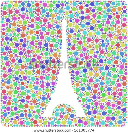 Colored mosaic of the Eiffel Tower in Paris (France) into a square sign. A number of 3999 little bubbles are accurately inserted into the mosaic. White background.