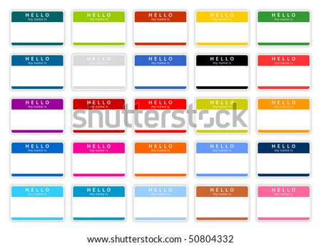 Colored name tag sticker set «HELLO. My name is» with shadow on white background
