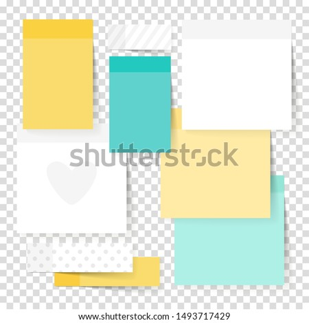 Colored note stickers set. Vector green, yellow and white paper notes illustration, sticky empty notepads papers for office text or business messages
