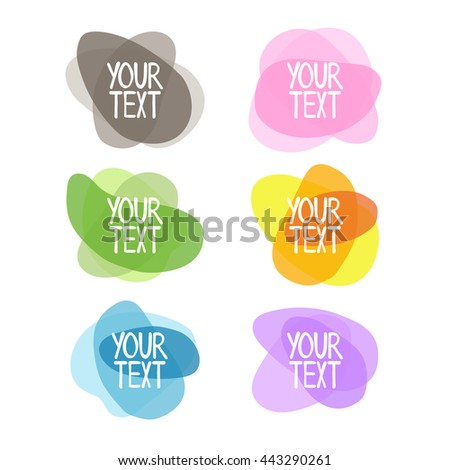 Colored objects - clouds. Set of decorative objects. Isolated vector objects on white background.