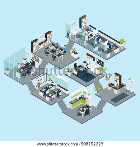 colored office isometric