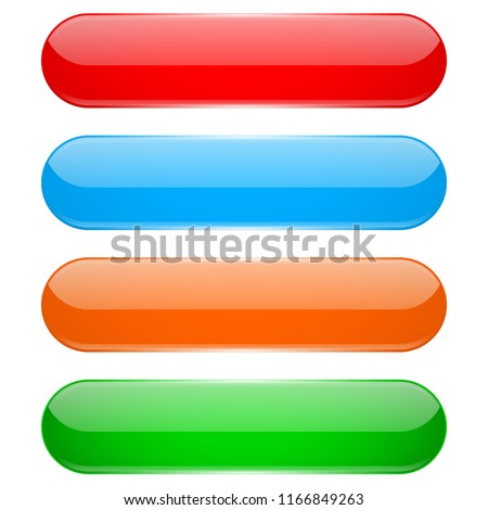 Colored oval buttons. 3d glass menu icons. Vector illustration isolated on white background