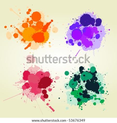 Colored paint splats background, creative design elements