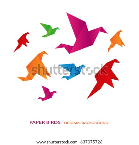 colored paper birds  origami