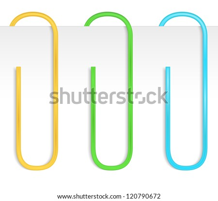 Colored paper clips, vector eps10 illustration