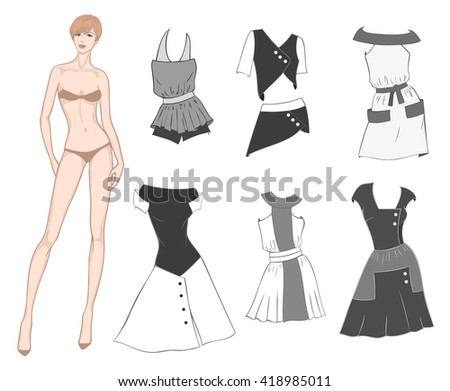 Colored paper doll young beautiful girl and combined clothes for her