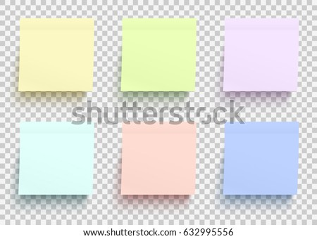 Colored paper stickers set. Shadowed sticky notes on transparent background. Template for your design works. Vector illustration.