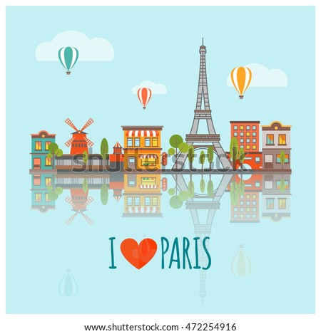 colored paris skyline poster