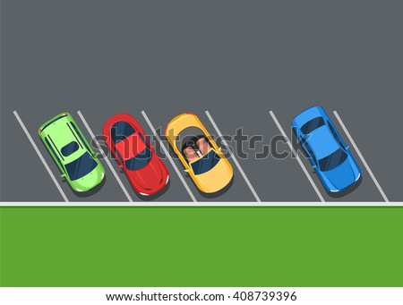 colored parked cars on the