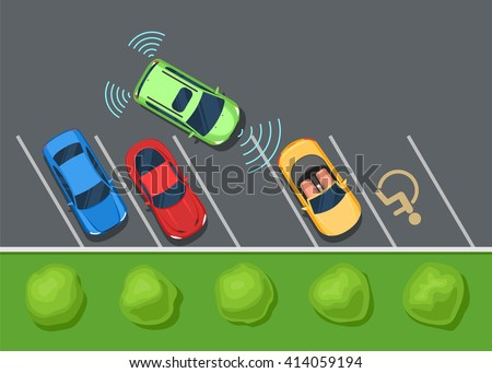 Colored Parked cars on the parking, top view. Parking assist system safety, smart car. Color Flat style vector illustration background for web design or print