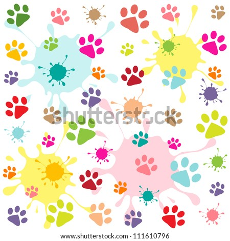 colored pattern with paw prints and blots