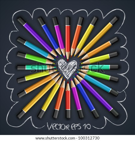 Colored pencils, heart shape, vector Eps10 illustration.