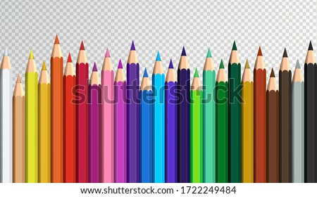 Colored pencils laying in row. Wave line made by pencil tips. Set of crayons for illustrations, art, studying. Ready for school stuff.