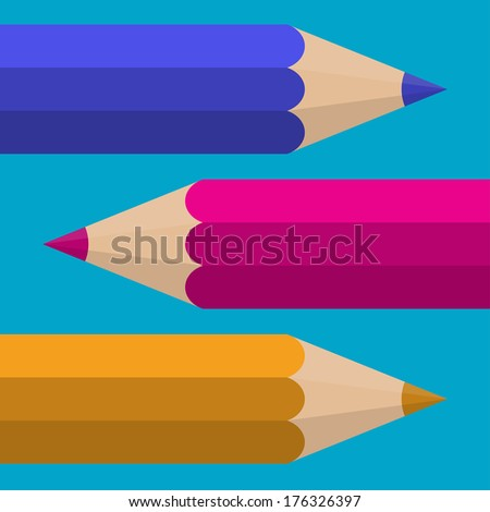Colored Pencils. Vector flat design
