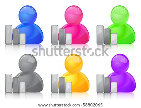 Colored people icon. Illustration isolated on white.