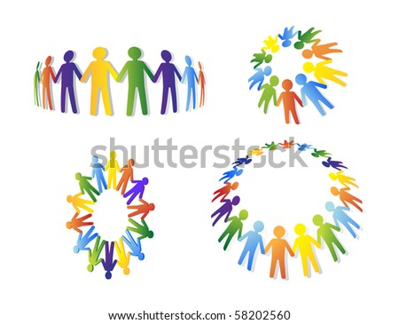 Colored people. Team and union metaphor
