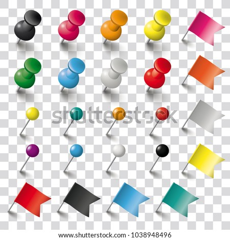 Colored pins, flags and tacks on the checked background. Eps 10 vector file.