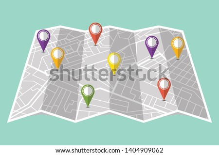 Colored pins showing different locations on gps map