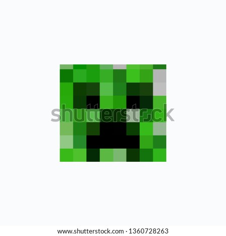 colored pixel head of a toy