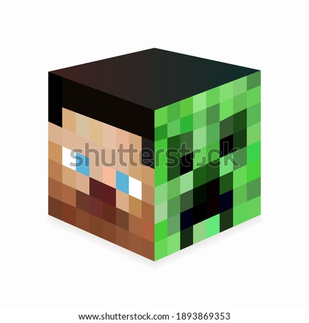 colored pixel square head