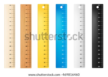 Colored plastic and wooden rulers. Vector objects