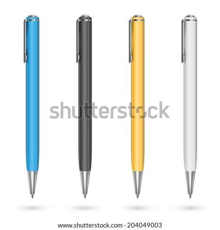 Colored plastic pens. Vector illustration