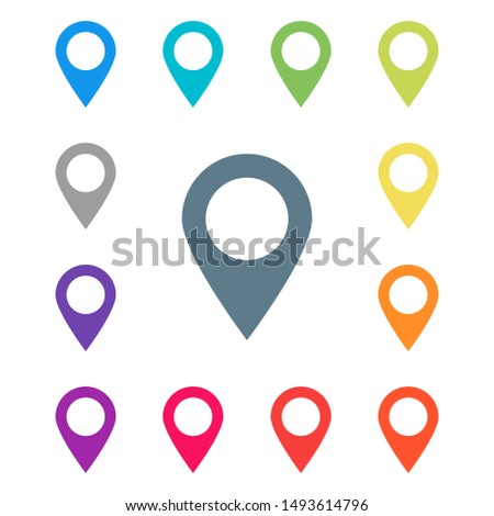 Colored pointers in abstract style on white background. Arrow pointer icon. Map pin pointer icon location symbol. Isolated vector illustration. EPS 10