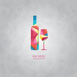 Colored polygon drink and beverages. Bottle of alcoholic beverage