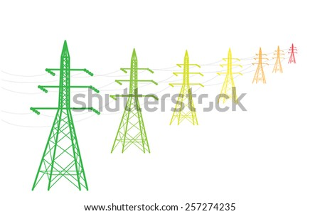 colored power lines as energy